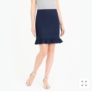 NWT J.Crew Navy Ruffle mini skirt in cotton poplin